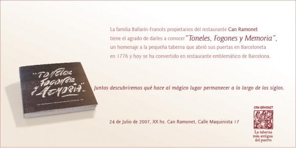 Invitación a la celebración aniversaria de Can Ramonet